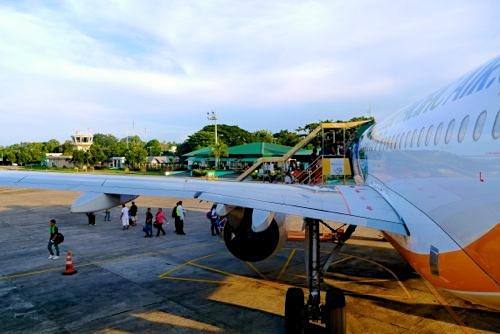 arriving at dumaguete airport, a small town on an island in the south of the Philippines