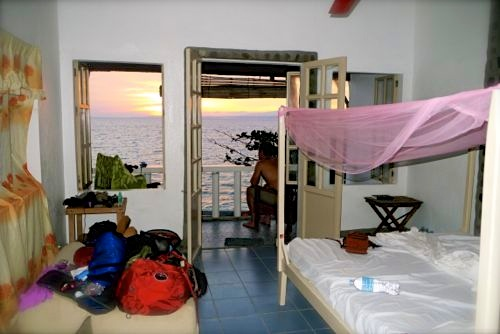 "our ""chic and basic"" home while on Apo Island"